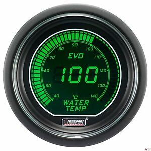 Prosport 52mm Evo Series Digital Green White Led Water Temperature Gauge Celsius