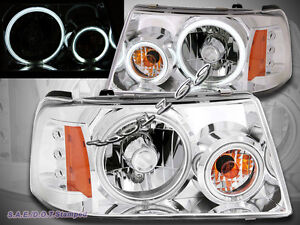 01 11 Ford Ranger Chrome Housing Led Headlights W Dual Ccfl Halo Rims