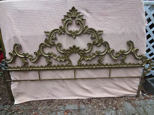Vintage Hollywood Regency French Rococo Style Cast Metal King Size