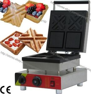 Commercial Nonstick Electric Square Stuffed Waffle Bowl Maker Iron Baker Machine