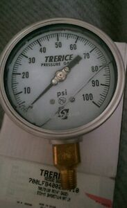 4 0 100 Psi Stainless Gauge Pressure Liquid Filled Guage 1 4 Trerice 700lfb