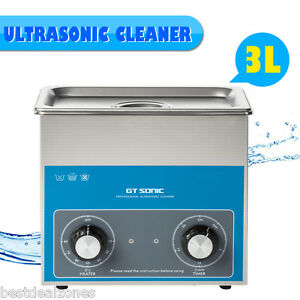 3l Stainless Steel Ultrasonic Cleaner Timer Heater Jewellery Bath Tank Cleaning