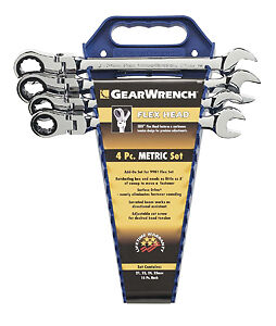 Gearwrench 9903d 4 Piece Flex Head Ratcheting Wrench Completer Set Metric