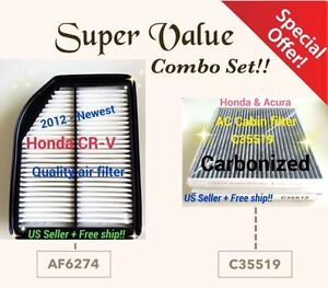Combo Set For Honda Crv 2012 14 Cr v Premium Engine carbonized Cabin Air Filter