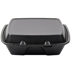 9 X 9 X 3 Black Foam Square Take Out Container With Hinged Lid 200 case