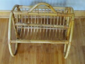 Vintage Franco Albini Style Rattan Bamboo Magazine Stand Rack As Is
