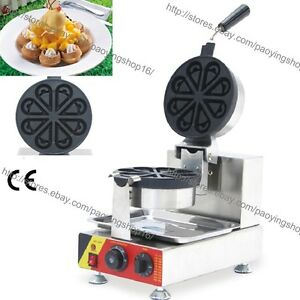 Commercial Nonstick Electric Rotating Ice Cream Waffle Maker Iron Baker Machine