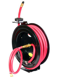1 2 X 25 Ft Feet Retactable Rubber Air Hose Reel 300 Psi Free Shipping