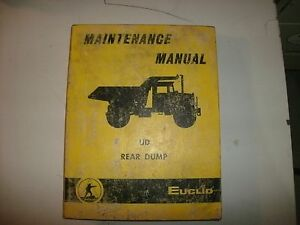 Euclid Model 5 Ud Rear Dump Haul Mine Truck Shop Service Maintenance Manual