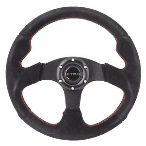 320mm Jdm 6 bolt Racing Steering Wheel Black Suede Red Stitching Trd