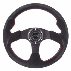 320mm Jdm 6 bolt Steering Wheel Black Suede Red Stitching Trd For Toyota