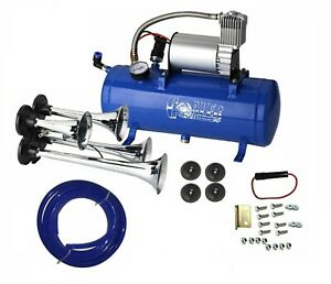Air Horn 4 Trumpet 12 Volt Compressor 18ft Hose 150 Db Train 120 Psi Kit Truck