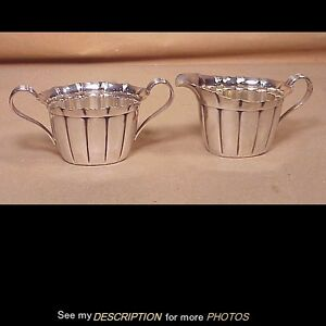 Antique Reed Barton Sterling Silver Ribbed Sugar Creamer No X250
