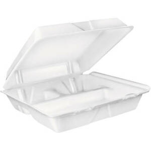 Dart Large 3 compartment White Foam Carryout Food Container