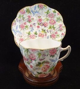 Vintage Rosina Chintz Floral Bone China Cup And Saucer