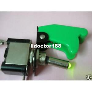 10set race Car Illuminated Toggle Green Switch Green Safety Cover New