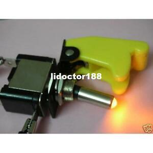 10set race Car Illuminated Toggle Yellow Switch Yellow Safety Cover New