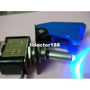 10set race Car Illuminated Toggle Blue Switch Blue Safety Cover New