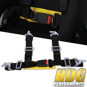 Universal 2 Wide Black Nylon 4 Point Buckle Seat Harness Belt With Yellow Strap