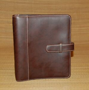 Brown Classic Franklin Covey Planner Nubuck Look Matte Finish Tab Closure