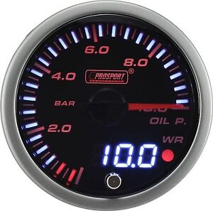 Prosport 60mm Jdm Series Amber Red White Led Warning Oil Pressure Gauge Bar