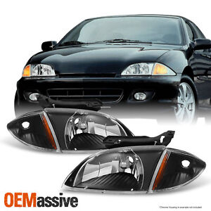 Fit 2000 2001 2002 Chevy Cavalier Black Headlights W Corner Signal Lights 4pcs