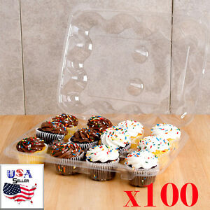 12 Compartment 100 Case Hinged High Dome Clear Plastic Cupcake Container