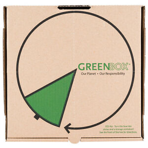 Greenbox 16 X 16 X 2 Corrugated Recycled Pizza Box Built in Plates 50