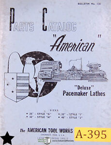 American 25 32 40 G H I And J Deluxe Pacemaker Lathes Parts Manual 1957
