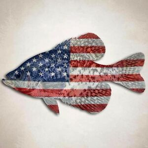 Crappie Fishing Decal American Flag Panfish Window Truck Boat Sticker