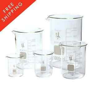 Set Of 5 Laboratory Glassware Science Lab Chemistry Beaker New Fast Shipping