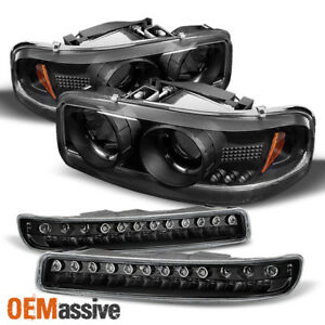 Fits 00 06 Gmc Sierra Yukon Halo Projcetor Headlights Led Bumper Signal Lamps