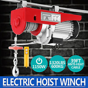 1320lbs Electric Wire Hoist Remote Control Garage Auto Shop Overhead Lift