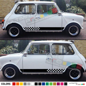 Sticker Decal For Classic Mini Cooper Side Door Mirror Stripes Left Right Side