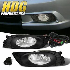 For 2012 Honda Civic 4dr Sedan Fog Lights Lamp Clear Harness Pair Replacement