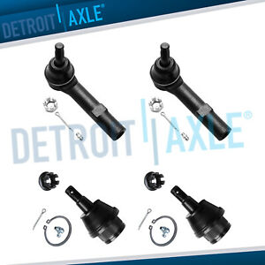 Pair Lower Ball Joints 2 Outer Tie Rod Links Chevy Silverado Gmc Sierra 1500