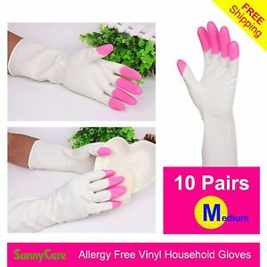 10pairs Heavy Duty Household Cleaning Vinyl Gloves 13 M latex Nitrile Free