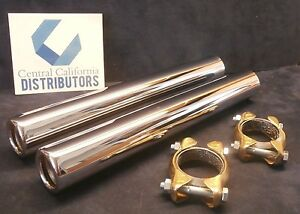 1946 1967 Vw Bug Beetle Chrome Tail Pipe Kit W Clamps Pair 265mm 113251163d