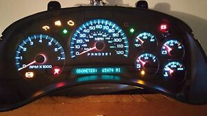2002 2007 Chevy Trailblazer Instrument Cluster Exchange With Wdic Ice blue Led