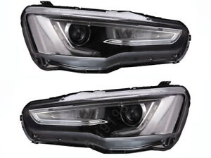 Led Headlights For 2008 2017 Mitsubishi Lancer Evo X Drl Front Lights Audi Style