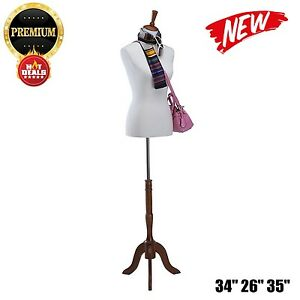 Mannequin Stand Dress Form Female Clothes Body Show Sewing Wooden Tripod Base