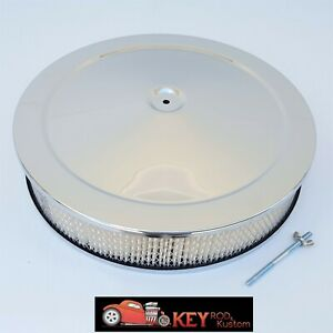 14 x3 Chrome Round Air Cleaner Assembly Recessed Base Paper Filter Chevy Ford