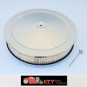 14 x3 Chrome Round Air Cleaner Assembly Flat Base Paper Filter Chevy Sbc Bbc
