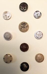 Beautiful Card Of 10 Victorian Glass Buttons In Different Colors Finishes Bird