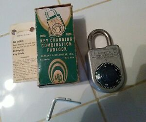 Sargent Greenleaf 8088 Key Changeable Combination Padlock New Old Stock With Box