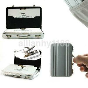 Silver Hot Mini Metal Briefcase Suitcase Business Name Card Holder Case Box Us