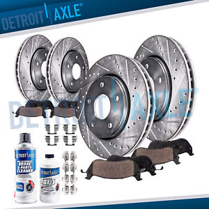 Front Rear Drill Brake Rotors Ceramic Pads For Dodge Ram 1500 Durango 2wd 4wd