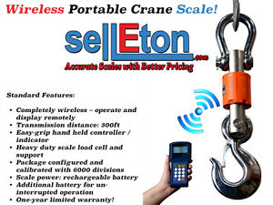 New Industrial Wireless Crane Scale 300 Ft Range Hanging Scale 6000 Lbs X 1 Lb