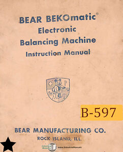 Bear Bekomatic Balancing Machine Operation Schematics Maintenance