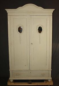 Vintage Painted Pine Wardrobe With Oval Mirrored Doors